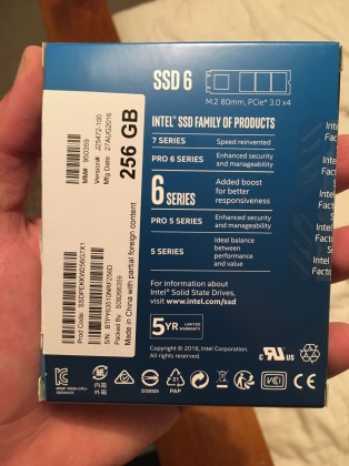 Ổ cứng SSD M2-PCIe 256GB Intel 600p NVMe 2280 14