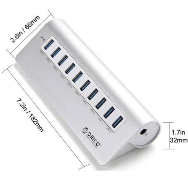 Bộ chia 10 cổng USB 3.0 Orico M3H10 vỏ nhôm - Hub USB Orico Aluminum 6