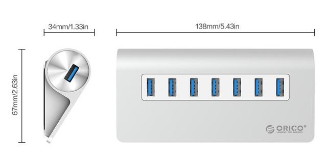 Bộ chia 7 cổng USB 3.0 Orico M3H7 vỏ nhôm - Hub USB Orico Aluminum 6